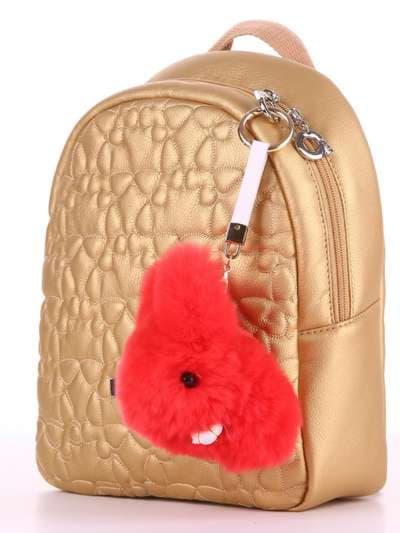 Брендовый брелок кролик меховый с ремешком красный. Фото товара, вид 2