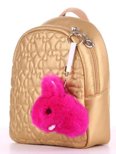 Стильный брелок кролик меховый с ремешком малиновый. Фото товара, вид 2