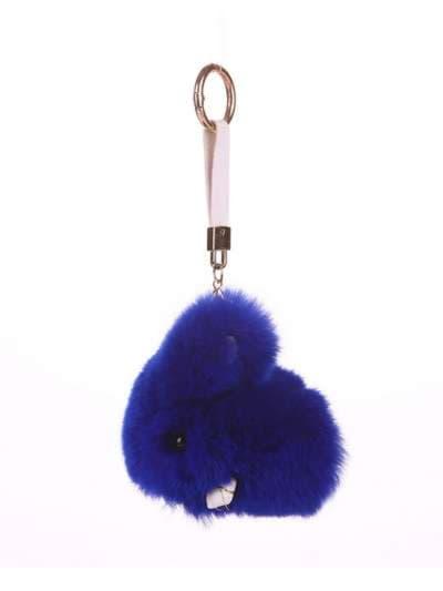 Брендовый брелок кролик меховый с ремешком синий. Фото товара, вид 1