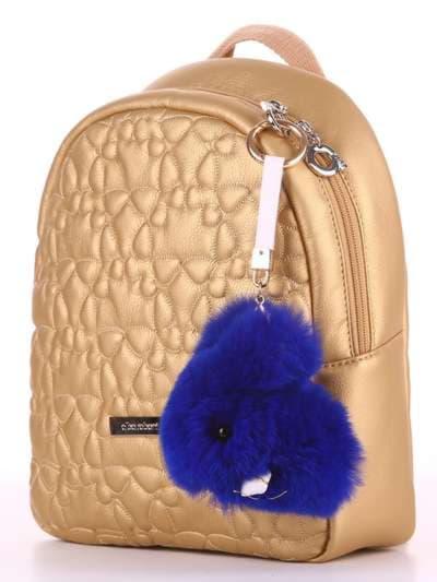 Брендовый брелок кролик меховый с ремешком синий. Фото товара, вид 2