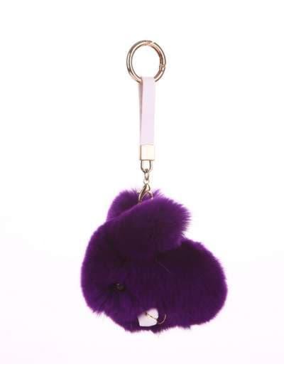 Стильный брелок кролик меховый с ремешком фиолетовый. Фото товара, вид 1