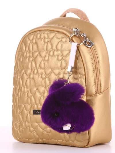 Стильный брелок кролик меховый с ремешком фиолетовый. Фото товара, вид 2