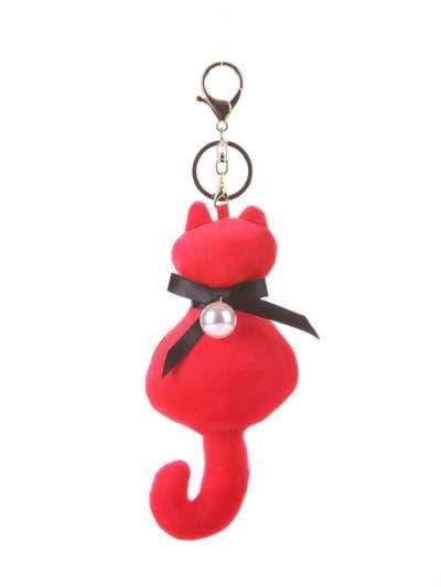Стильный брелок мягкая игрушка кошка с жемчужиной красная. Фото товара, вид 1