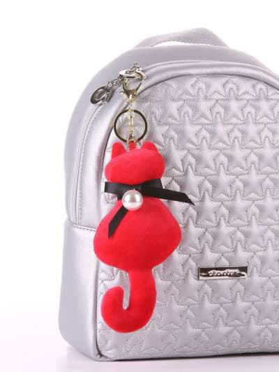 Стильный брелок мягкая игрушка кошка с жемчужиной красная. Фото товара, вид 2