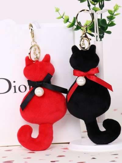 Стильный брелок мягкая игрушка кошка с жемчужиной красная. Фото товара, вид 3