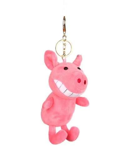 Стильный брелок мягкая игрушка улыбающийся поросенок розовая. Фото товара, вид 1