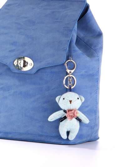 Стильний брелок м'яка іграшка ведмедик блакитний. Фото товару, вид 2