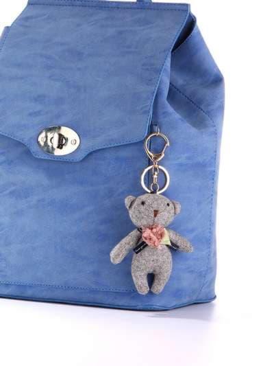 Стильный брелок мягкая игрушка мишка серый. Фото товара, вид 2