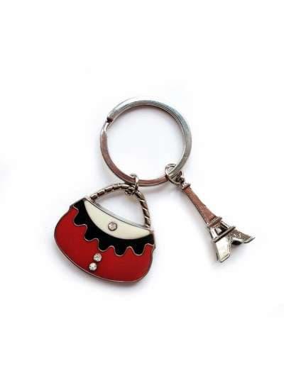Модный брелок сумочка красная с эйфелевой башней никель. Фото товара, вид 1_product-ru