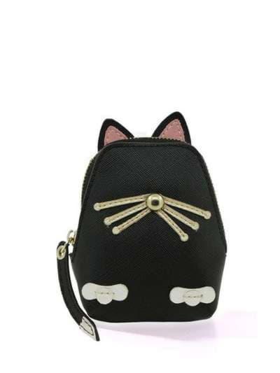 Модный брелок кошелек кошка с усами черный. Фото товара, вид 1_product-ru