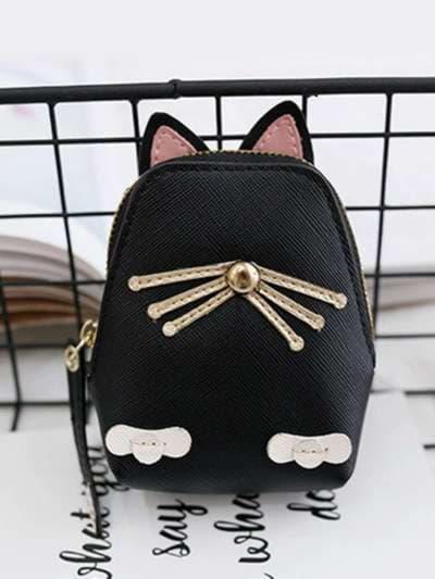 Модный брелок кошелек кошка с усами черный. Фото товара, вид 2