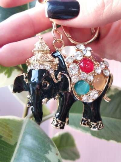 Модный брелок слон черный золото. Фото товара, вид 2
