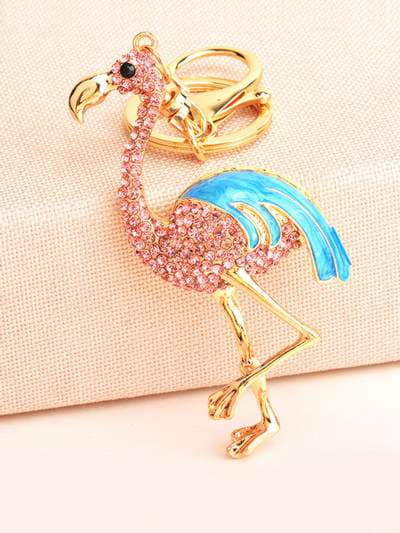 Модный брелок фламинго в стразах золото. Фото товара, вид 1