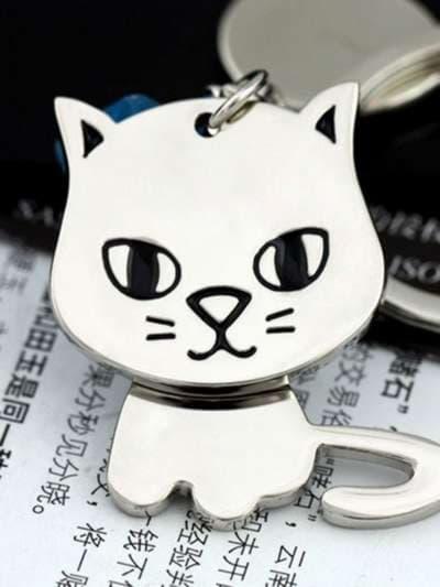 Брендовый брелок котёнок с вращающейся головой никель. Фото товара, вид 1_product-ru