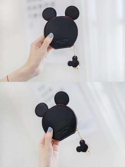 Брендовый брелок кошелек с ушками черный. Фото товара, вид 2