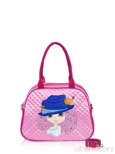 Стильная детская сумочка, модель 0323 розовый. Фото товара, вид спереди.