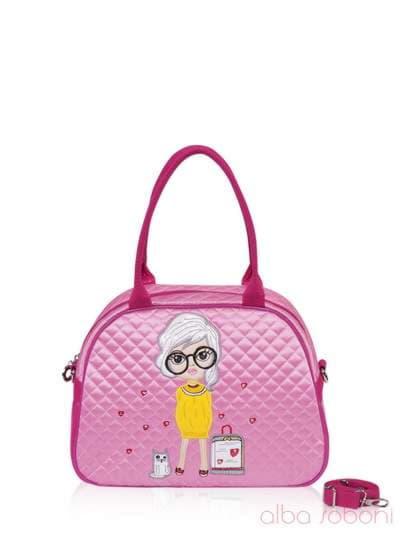 Стильная детская сумочка, модель 0324 розовый. Фото товара, вид спереди.