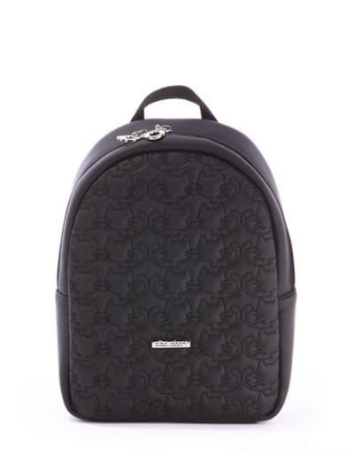 Стильный детский рюкзак, модель 0610 черный. Фото товара, вид спереди.