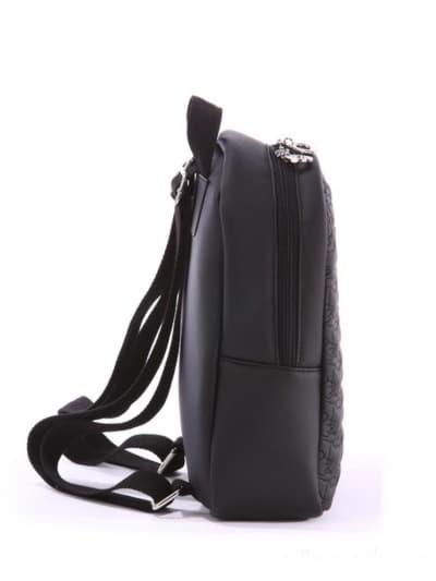 Стильный детский рюкзак, модель 0610 черный. Фото товара, вид сзади.