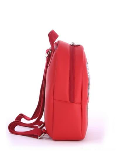 Стильный детский рюкзак, модель 0618 красный. Фото товара, вид сзади.