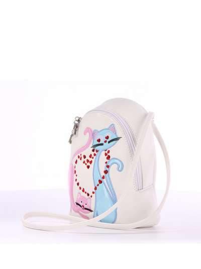 Стильный детский рюкзак, модель 1844 белый. Фото товара, вид сбоку.