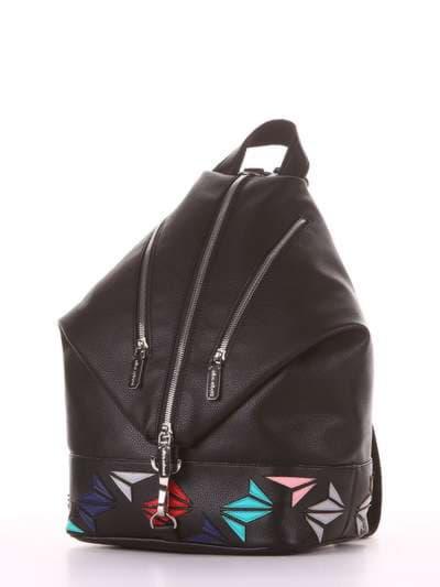 Женский рюкзак, модель 181401 черный. Фото товара, вид сзади.