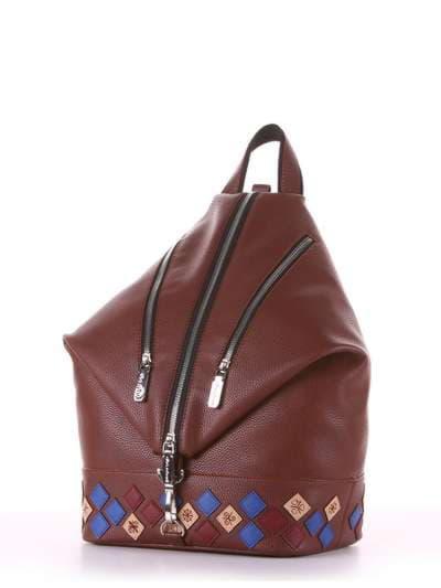 Брендовый рюкзак, модель 181407 коричневый. Фото товара, вид сзади.