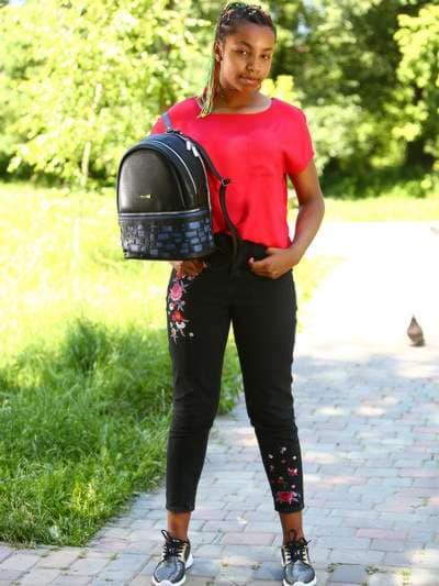 Школьный рюкзак, модель 181431 черный. Фото товара, вид спереди._product-ru