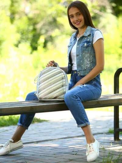 Школьный рюкзак, модель 181473 серебро. Фото товара, вид спереди._product-ru