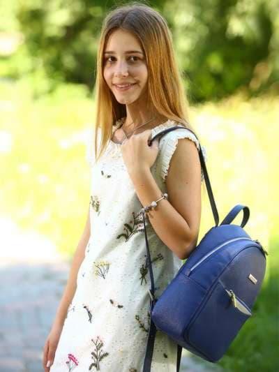 Школьный рюкзак, модель 181523 синий. Фото товара, вид спереди.