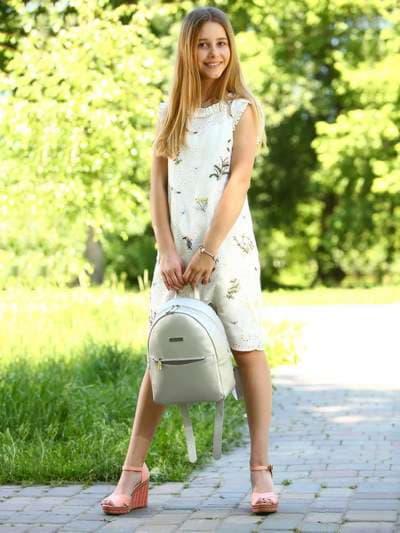 Стильный рюкзак, модель 181524 серебро. Фото товара, вид спереди._product-ru