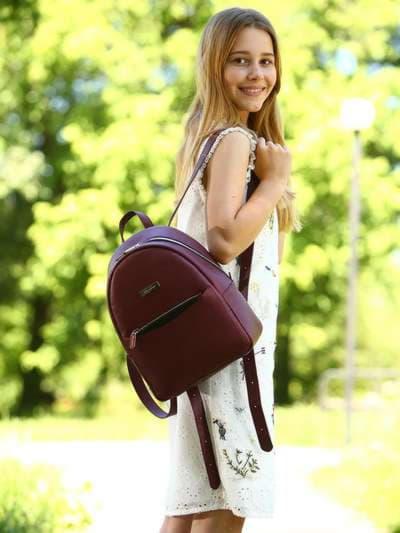 Модный рюкзак, модель 181525 красный перламутр. Фото товара, вид спереди._product-ru