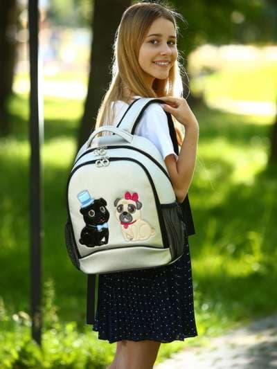 Модный рюкзак, модель 181703 серебро. Фото товара, вид спереди._product-ru