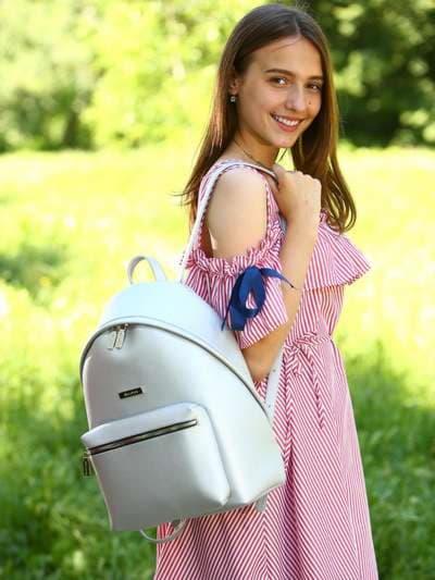 Стильный рюкзак, модель 181712 серебро. Фото товара, вид спереди._product-ru