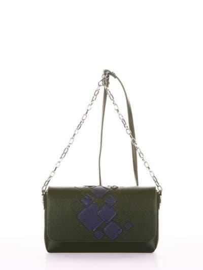 Стильный клатч, модель 181423 темно-зеленый. Фото товара, вид сбоку.