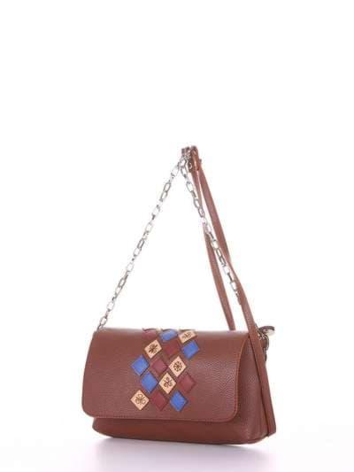 Брендовый клатч, модель 181427 коричневый. Фото товара, вид сзади.