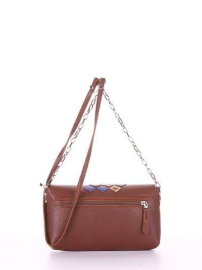 Брендовый клатч, модель 181427 коричневый. Фото товара, вид дополнительный.