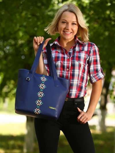 Брендовая сумка, модель 181412 синий. Фото товара, вид спереди._product-ru