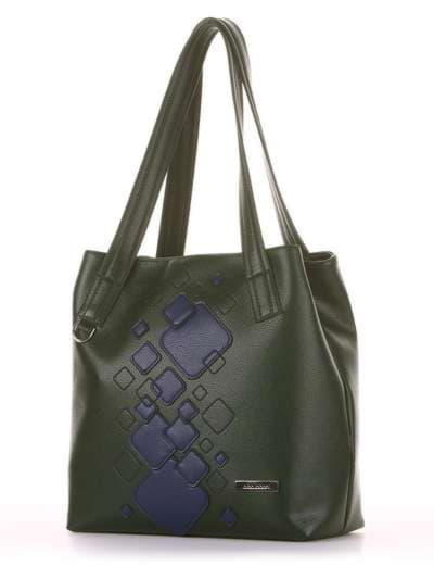 Школьная сумка, модель 181413 темно-зеленый. Фото товара, вид сзади.