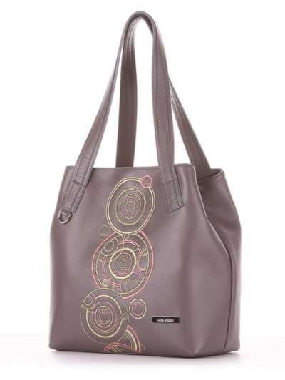 Школьная сумка, модель 181414 темно-серый. Фото товара, вид сзади.