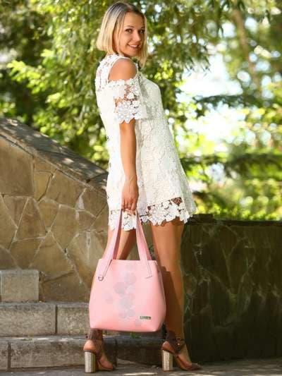 Молодежная сумка, модель 181415 пудрово-розовый. Фото товара, вид спереди._product-ru