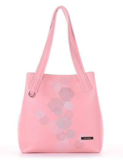 Молодежная сумка, модель 181415 пудрово-розовый. Фото товара, вид сбоку.