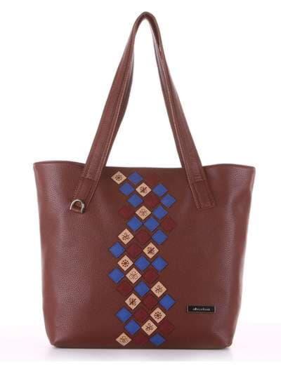 Молодежная сумка, модель 181417 коричневый. Фото товара, вид сбоку.