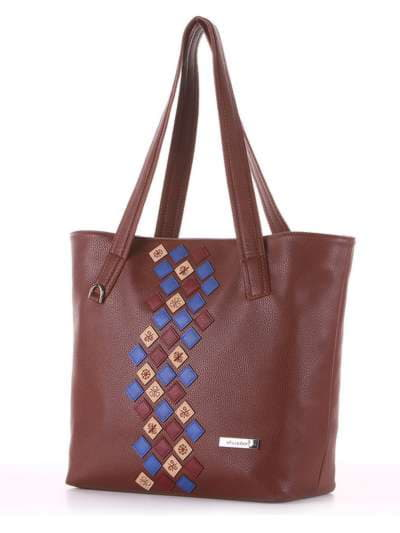 Молодежная сумка, модель 181417 коричневый. Фото товара, вид сзади.