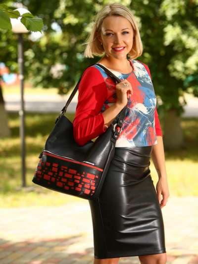 Стильная сумка, модель 181446 черный. Фото товара, вид спереди.