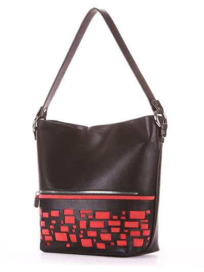 Стильная сумка, модель 181446 черный. Фото товара, вид сзади.