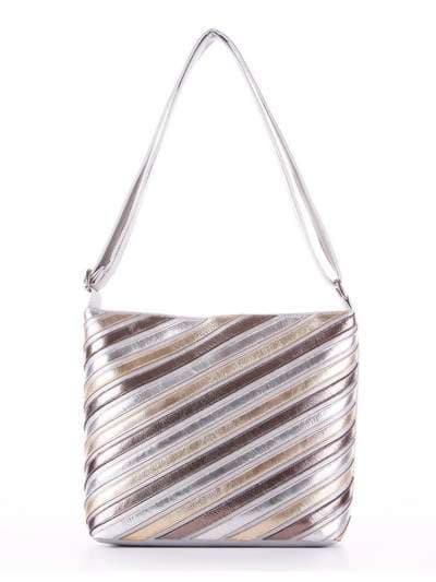 Стильная сумка через плечо, модель 181483 серебро. Фото товара, вид сбоку.