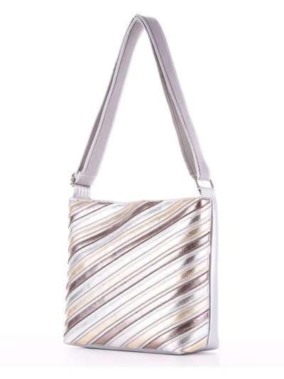 Стильная сумка через плечо, модель 181483 серебро. Фото товара, вид сзади.