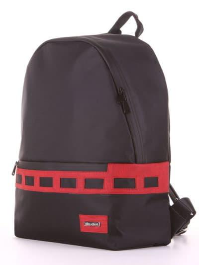Стильный рюкзак - unisex, модель 181602 черно-красный. Фото товара, вид сзади.