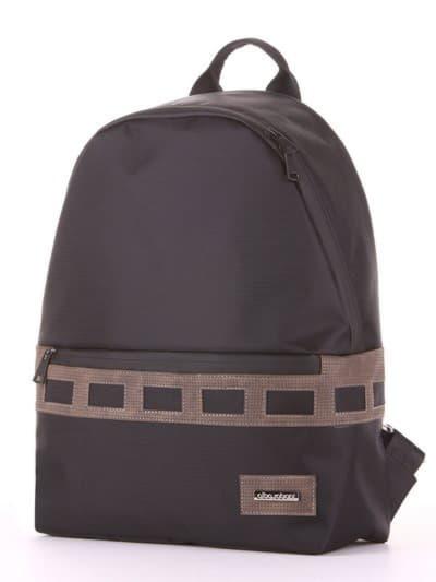 Школьный рюкзак - unisex, модель 181614 черный-хаки. Фото товара, вид сзади.
